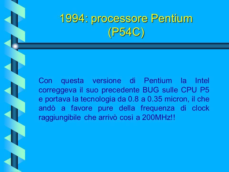 Nel 1994 viene introdotto il Pentium a 90 MHz, che funziona a 3,3 volt anziché a cinque tipici delle CPU 80x86. L'anno successivo escono processore co