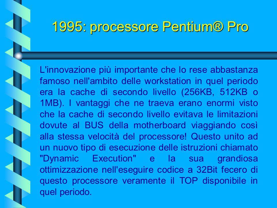 Presentato nell'autunno del 1995, il processore Pentium® Pro, con i suoi 5.500.000 di transistor a 3.3 volt, fu progettato per potenziare le applicazi