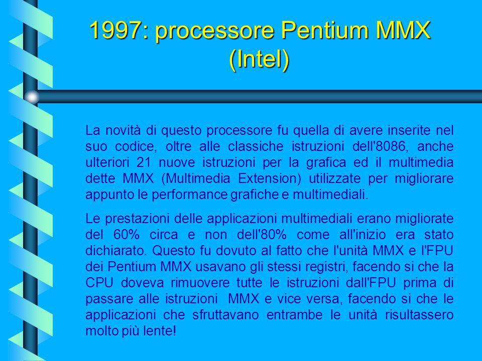 Con 4,5 milioni di transistor a 2,8 volt e una memoria interna di 32 KByte, veniva assemblato su un chip di 296 piedini. 1997: processore Pentium MMX