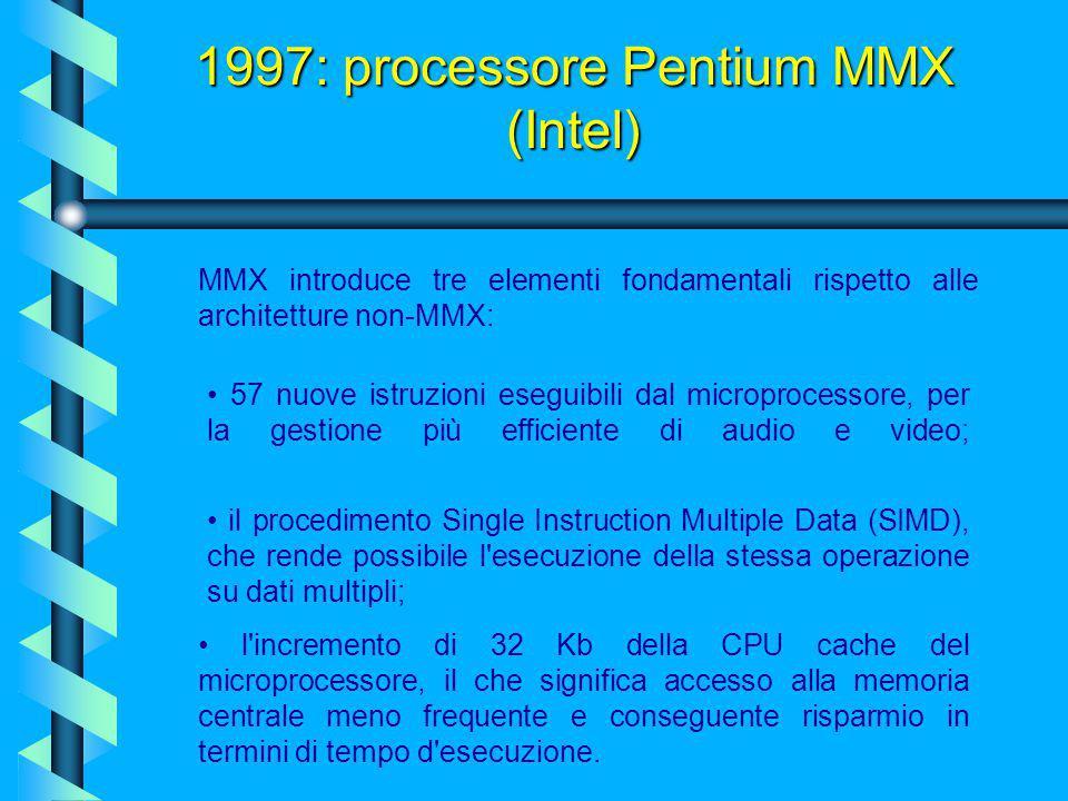 1997: processore Pentium MMX (Intel) Grazie a queste nuove caratteristiche il processore risultava leggermente più performante del predecessore nell'e