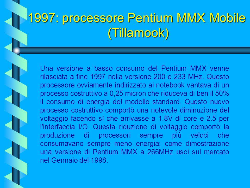 1997: processore Pentium MMX (Intel) La tecnologia MMX, quando fu introdotta nei processori Pentium, al molto fumo corrispose poco arrosto: il softwar