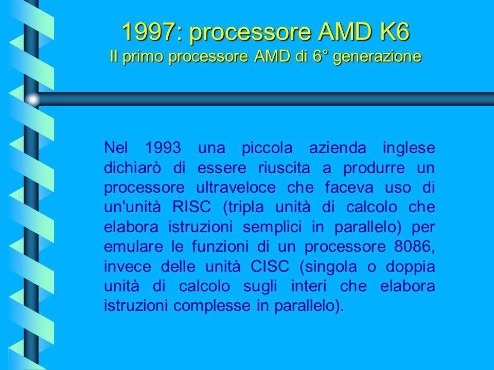 1997: processore Pentium MMX Mobile (Tillamook) Una versione a basso consumo del Pentium MMX venne rilasciata a fine 1997 nella versione 200 e 233 MHz