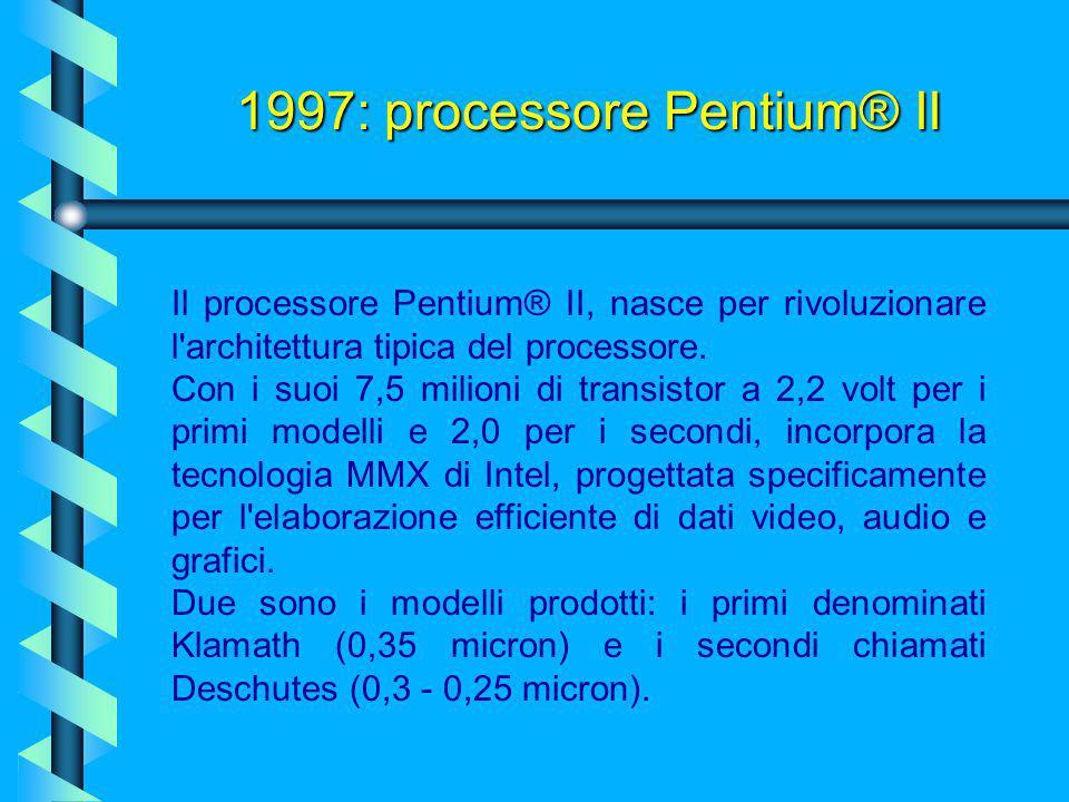1997: processore AMD K6  La cache di secondo livello è sempre saldata su piastra e funziona a 66Mhz contro la cache integrata su schedina dedicata de