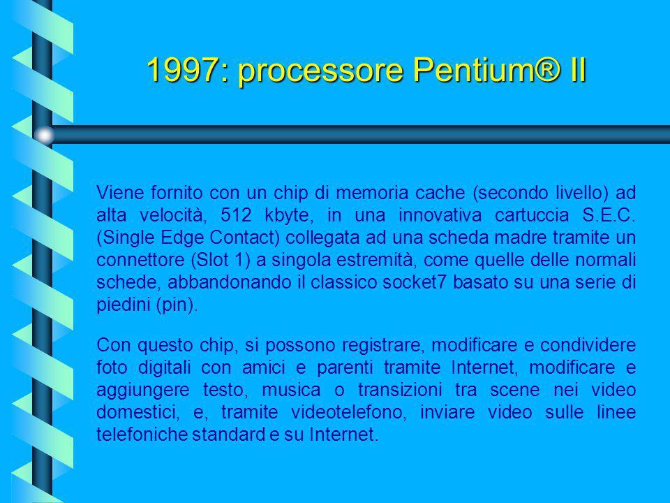 Il processore Pentium® II, nasce per rivoluzionare l'architettura tipica del processore. Con i suoi 7,5 milioni di transistor a 2,2 volt per i primi m