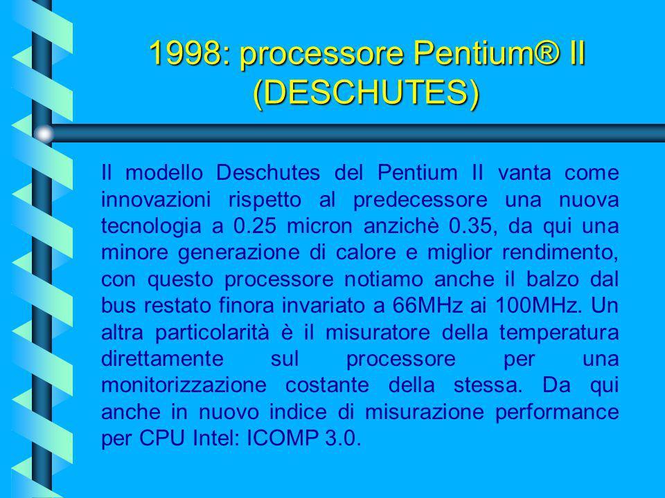 1997: processore Pentium® II (KLAMATH) Come il Pentium Pro, questo processore a 7,5 milioni di transistor (0,35 micron) fa uso dello stesso core P6, m