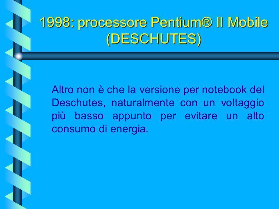 1998: processore Pentium® II (DESCHUTES) Il modello Deschutes del Pentium II vanta come innovazioni rispetto al predecessore una nuova tecnologia a 0.