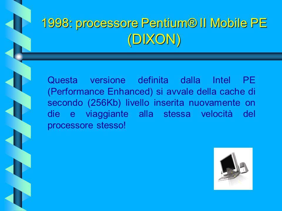 1998: processore Pentium® II Mobile (DESCHUTES) Altro non è che la versione per notebook del Deschutes, naturalmente con un voltaggio più basso appunt