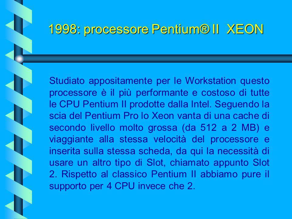 1998: processore Pentium® II Mobile PE (DIXON) Questa versione definita dalla Intel PE (Performance Enhanced) si avvale della cache di secondo (256Kb)