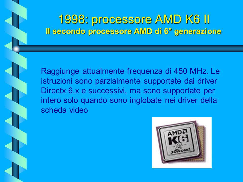 Questo processore vuole rappresentare la risposta di AMD al Pentium II. E' identico al K6 a livello architetturale, ma ingloba 21 nuove istruzioni chi