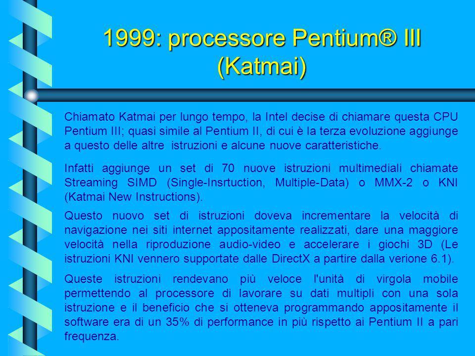 Il processore integra ben 9,3 milioni di transistor a 2.2 volt con tecnologia costruttiva a 0.25 micron ed una velocità di 266 e 300 Mhz!!!! 1998: pro