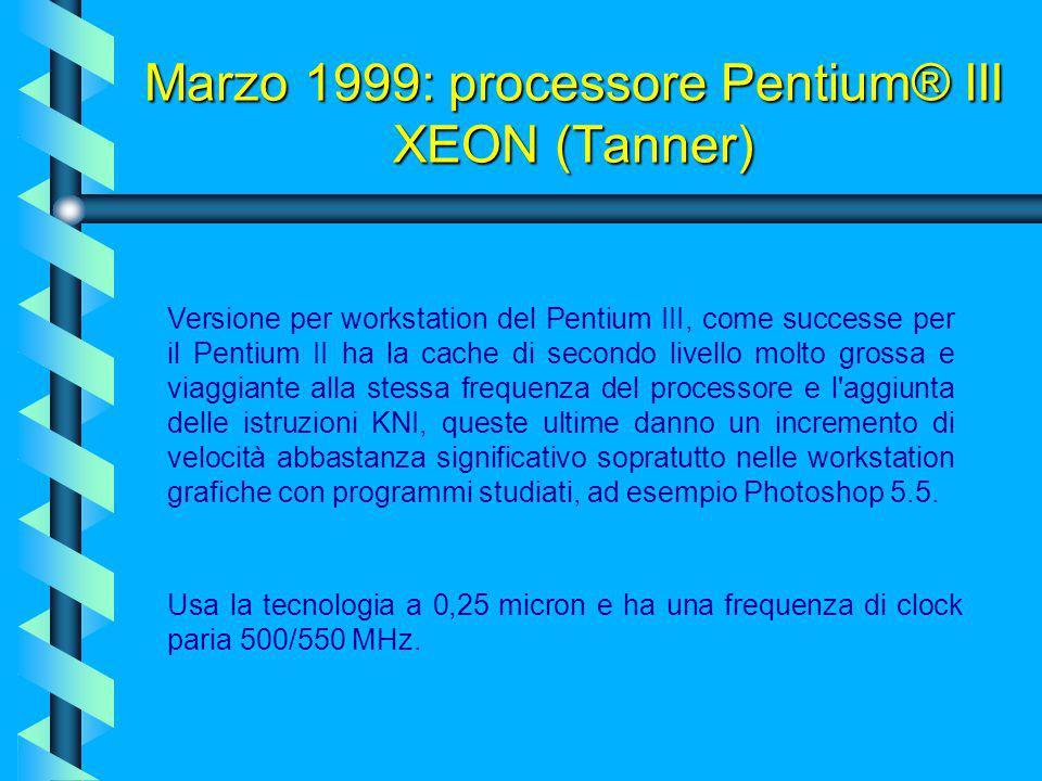 1999: processore Pentium® III (Katmai) Un altra innovazione fu l'inserimento di un numero ID generato casualmente alla fabbricazione inserito nella RO