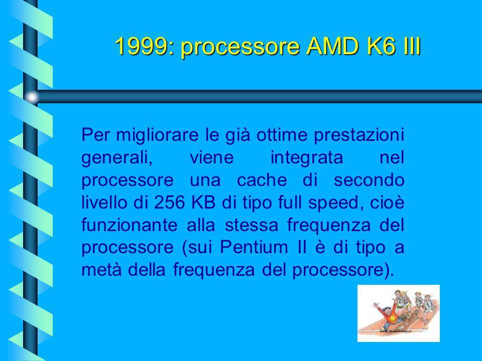 E' dotato: 1999: processore AMD K6 III  sia delle istruzioni MMX (istruzioni interne del microprocessore per accelerare i calcoli in ambito multimedi