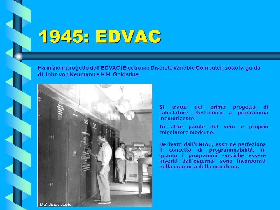 ENIAC (4) Considerato una meraviglia del suo tempo, questo gigante rimase in servizio per nove anni, fino a quando divenne praticamente impossibile us