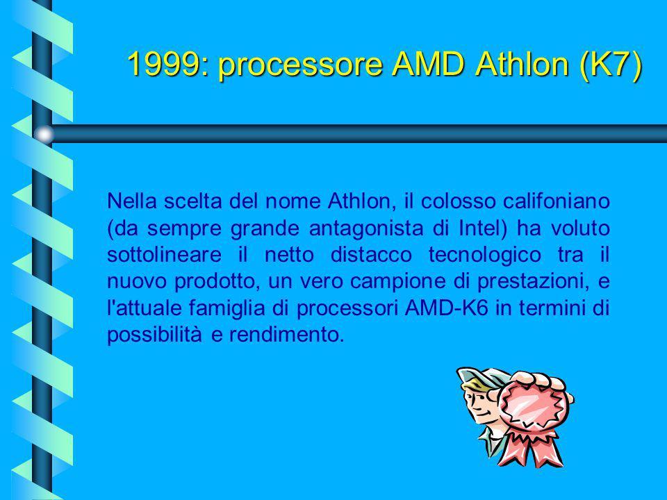 1999: processore AMD Athlon (K7) Il 24 giugno 1999, la AMD Italia annuncia, tramite un comunicato stampa, di aver iniziato le spedizioni (ai produttor
