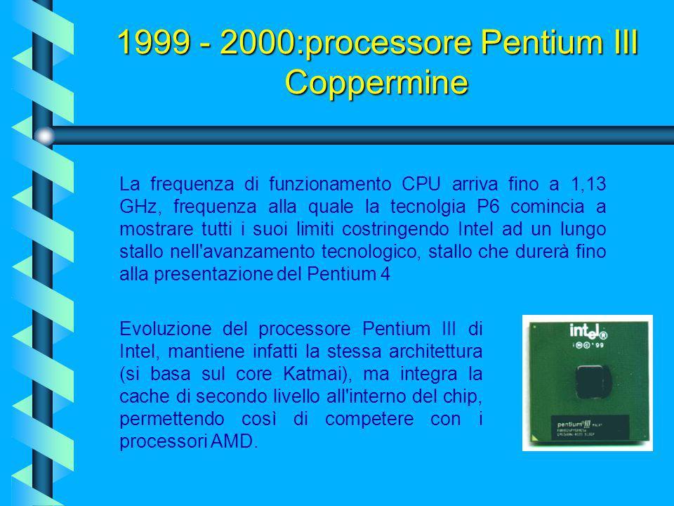 2000:processore Pentium III Celeron E' realizzato con una tecnologia di integrazione di 0,18 micron che si presenta come la versione economica del Pen