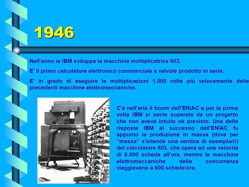 1945: EDVAC Ha inizio il progetto dell'EDVAC (Electronic Discrete Variable Computer) sotto la guida di John von Neumann e H.H. Goldstine. Si tratta de