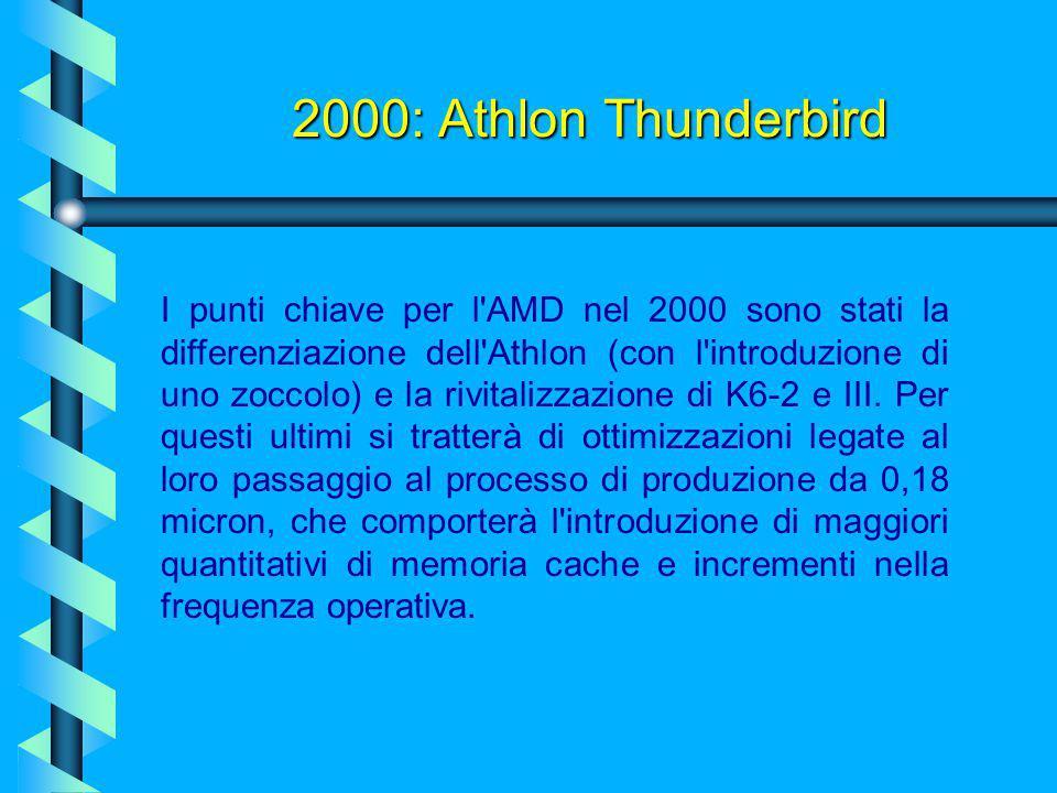 1999 - 2000:processore Pentium III Coppermine Altre caratteristiche tecniche:  l'utilizzo del processo produttivo a 0.18 micron (Pentium III e Celero