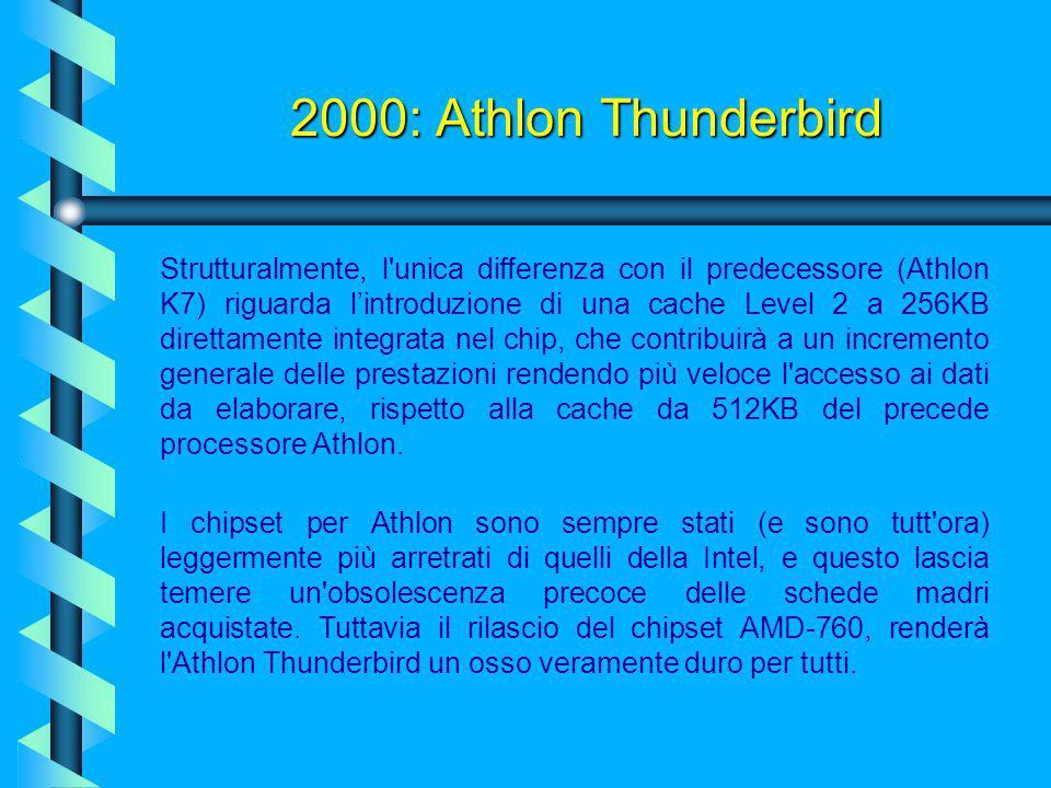 2000: Athlon Thunderbird I dati tecnici parlano di una configurazione a 462 piedini, operante con una frequenza di bus di 200 MHz (100 MHz a doppio fr