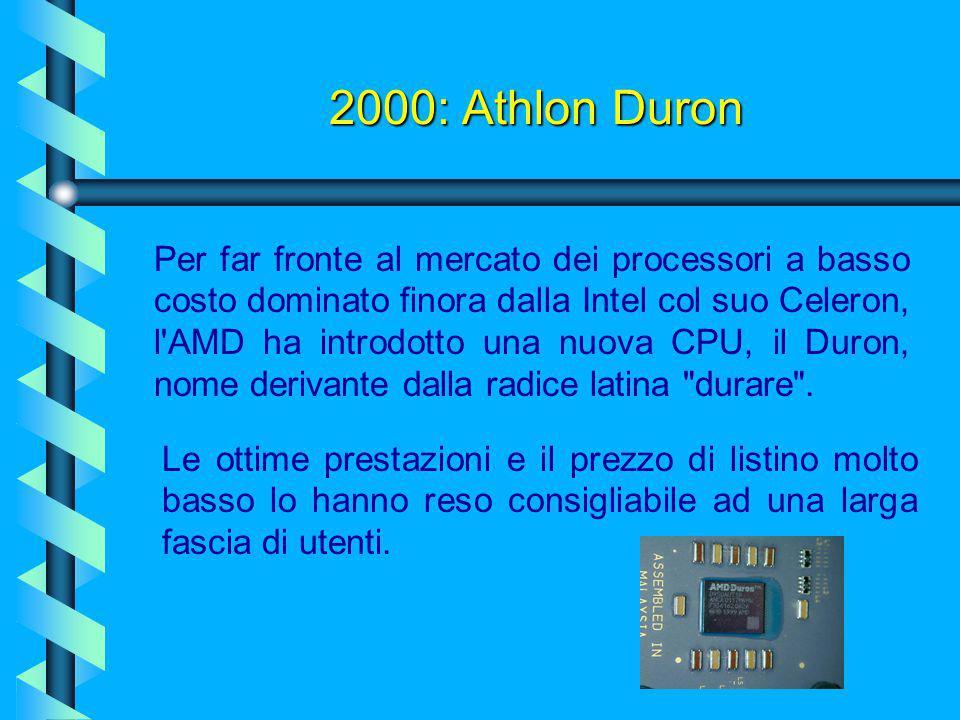 2000: Athlon Thunderbird I chipset per Athlon sono sempre stati (e sono tutt'ora) leggermente più arretrati di quelli della Intel, e questo lascia tem