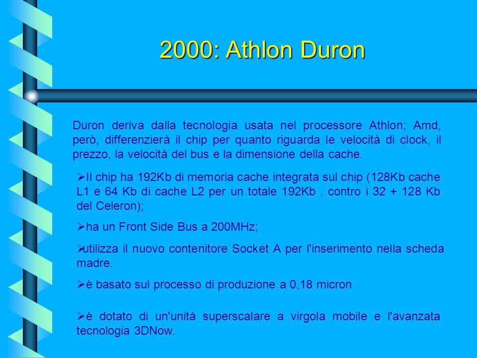2000: Athlon Duron Per far fronte al mercato dei processori a basso costo dominato finora dalla Intel col suo Celeron, l'AMD ha introdotto una nuova C