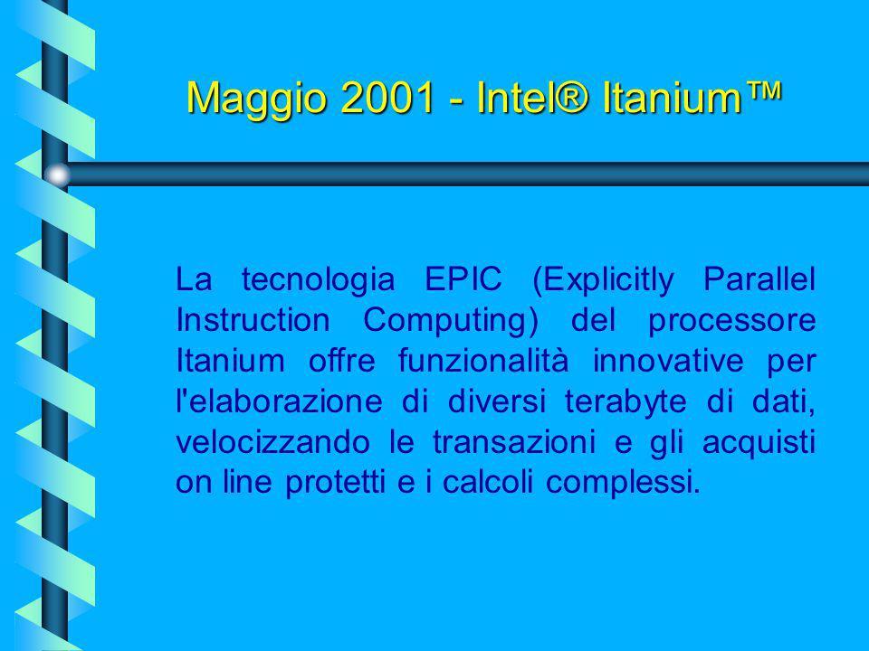 Maggio 2001 - Intel® Itanium™ Intel Corporation ha annunciato che a giugno è prevista l'introduzione sul mercato dei primi sistemi server e workstatio