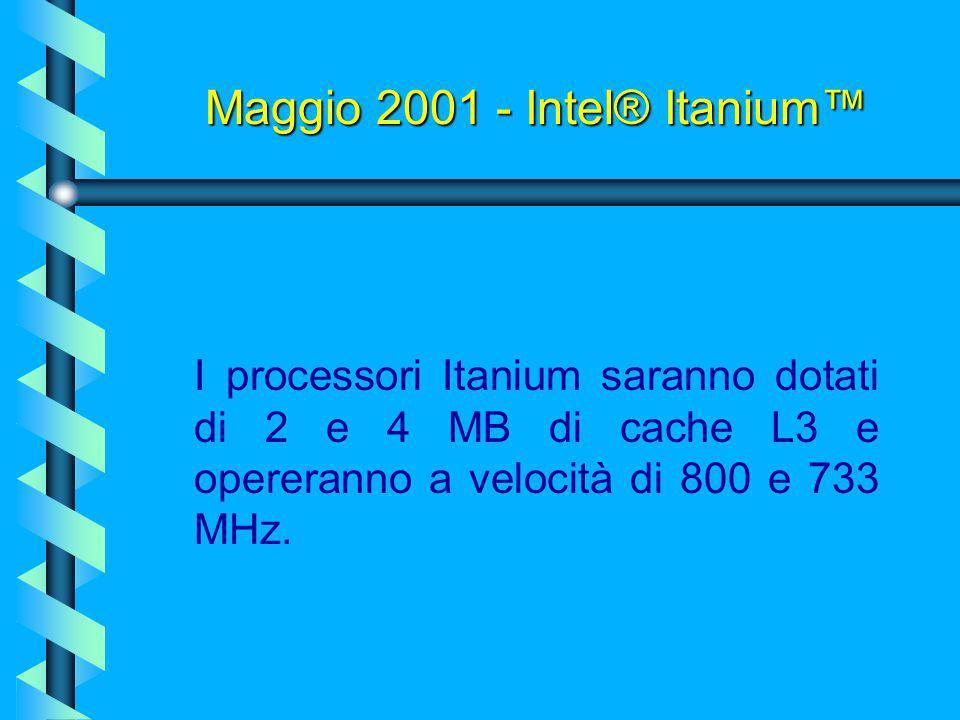 Maggio 2001 - Intel® Itanium™ L'architettura Itanium prevede inoltre caratteristiche esclusive di affidabilità tramite la Enhanced Machine Check Archi