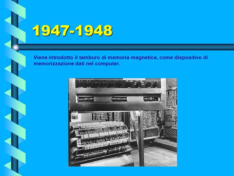 1947 Al MIT (Massachusetts Institute of Technology), nasce 'Whirlwind', macchina molto veloce orientata al funzionamento 'in tempo reale'. Fa uso per