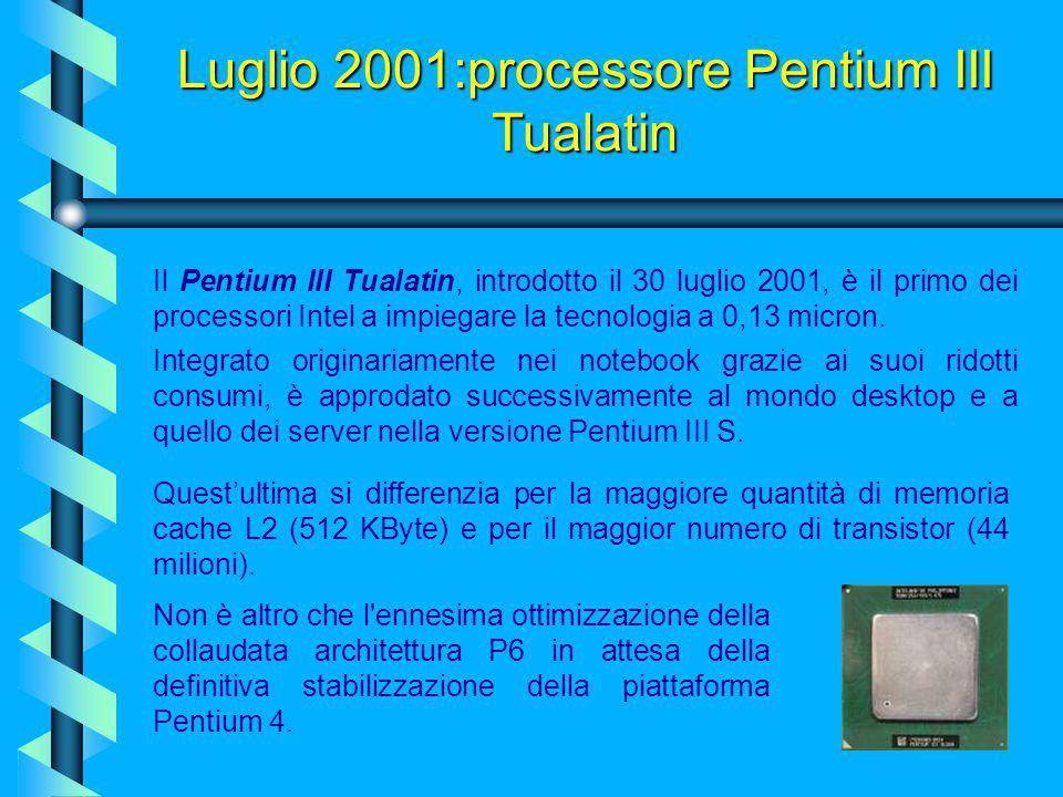 Maggio 2001 - Intel® Itanium™ I processori Itanium saranno dotati di 2 e 4 MB di cache L3 e opereranno a velocità di 800 e 733 MHz.