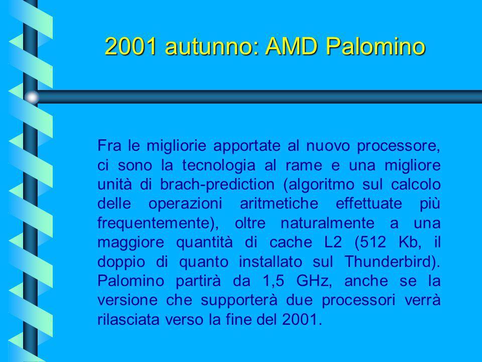 2001 autunno: AMD Palomino Anche in questo caso, AMD ha pronta la risposta, introducendo l'architettura