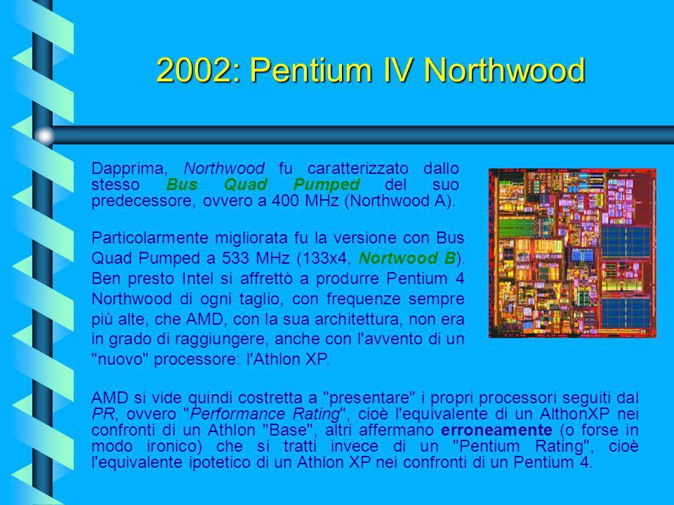 2002: Pentium IV Northwood Il progetto Willamette, venne abbandonato, e nel 2002, venne immesso sul mercato Northwood, il successore di Willamette, de