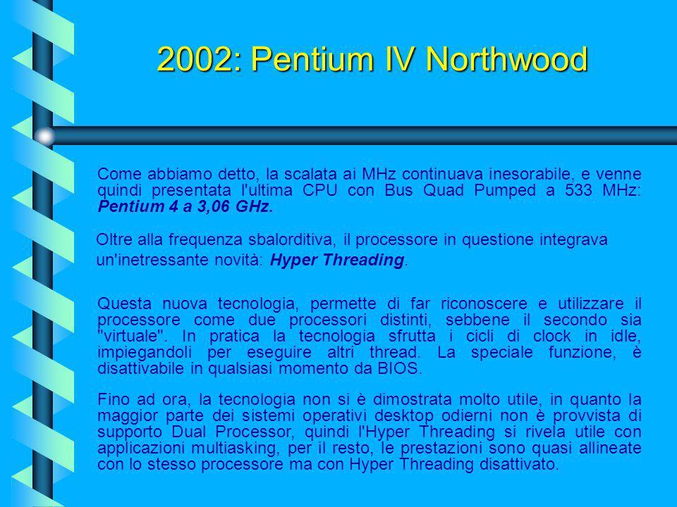 2002: Pentium IV Northwood Dapprima, Northwood fu caratterizzato dallo stesso Bus Quad Pumped del suo predecessore, ovvero a 400 MHz (Northwood A). Pa