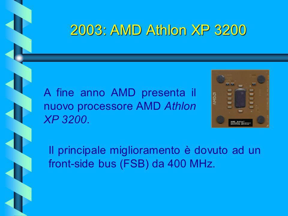 2003: AMD Athlon XP 3000 AMD rilascia il processore Athlon XP 3000. La novità di maggior rilievo è l'aumento della cache L2 da 256KB a 512Kb. La frequ