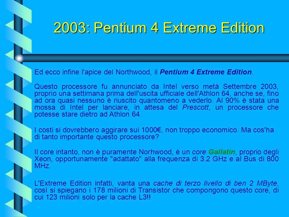 2003: AMD Athlon XP 3200 A fine anno AMD presenta il nuovo processore AMD Athlon XP 3200. Il principale miglioramento è dovuto ad un front-side bus (F