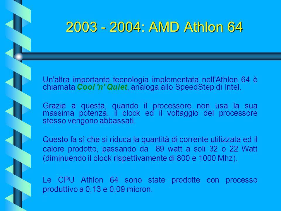 2003 - 2004: AMD Athlon 64 Nasce Athlon 64: il primo processore desktop con supporto 64 bit. Importante nuova implementazione dell'Athlon 64 è il cont