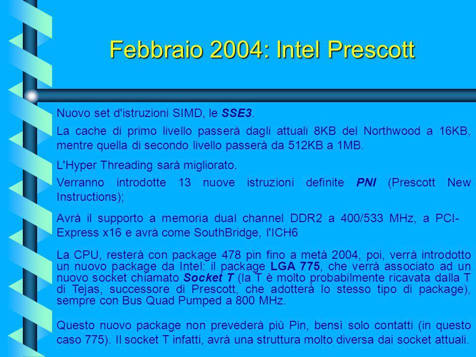 Febbraio 2004: Intel Prescott Inoltre ci sono i problemi legati al processo produttivo (che passa da 0,13 micron a 0,09 micron), che sono sentiti sopr
