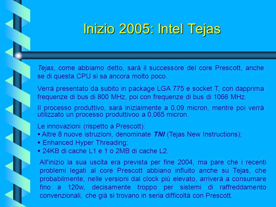 Febbraio 2004: Intel Prescott Nuovo set d'istruzioni SIMD, le SSE3. La cache di primo livello passerà dagli attuali 8KB del Northwood a 16KB, mentre q