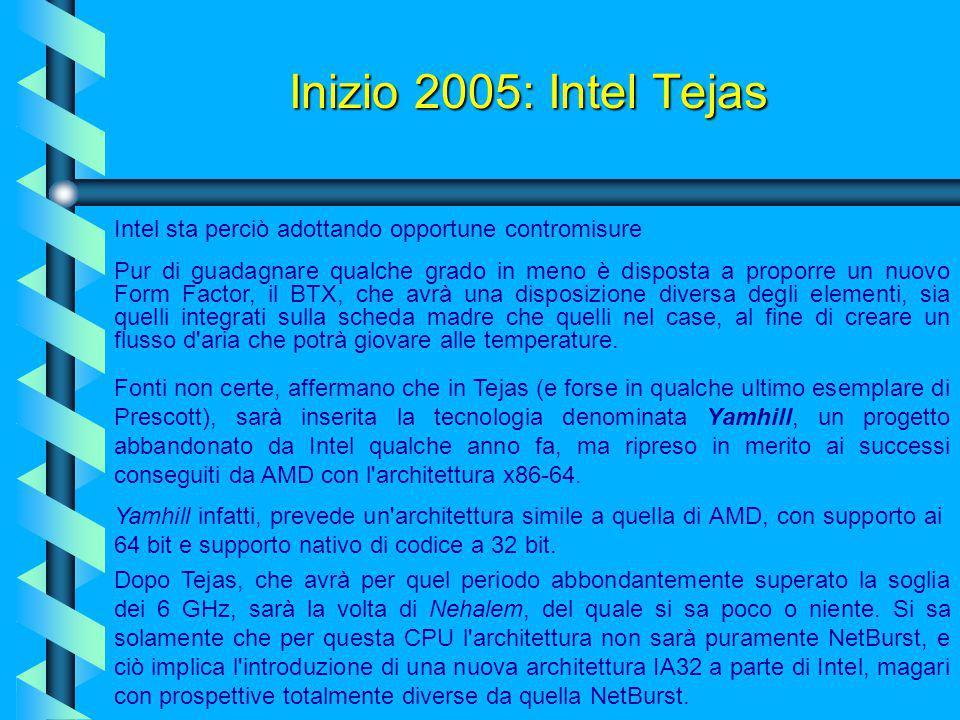 Inizio 2005: Intel Tejas Tejas, come abbiamo detto, sarà il successore del core Prescott, anche se di questa CPU si sa ancora molto poco. Verrà presen