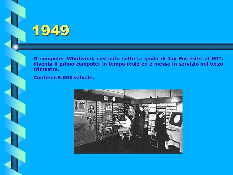 1948 Mark 1 Il 21 giugno, presso l'Università di Manchester, Mark I (ovvero Baby machine) diventa il primo computer digitale a programma memorizzato r