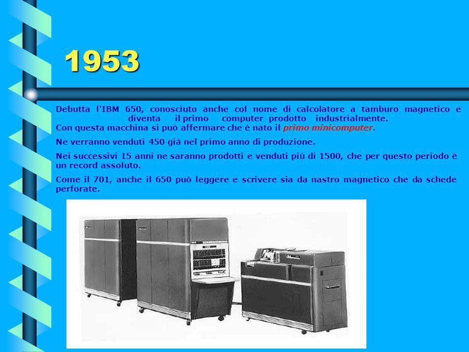 1953 Il più grande computer a valvole mai costruito fu quello per il progetto SAGE (Semi-Automatic Ground Environment) dell'Aeronautica degli USA per