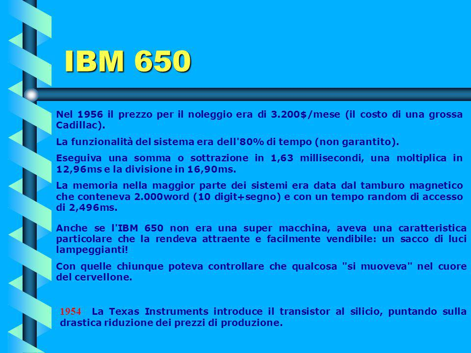 1953 Debutta l'IBM 650, conosciuto anche col nome di calcolatore a tamburo magnetico e diventa il primo computer prodotto industrialmente. Con questa