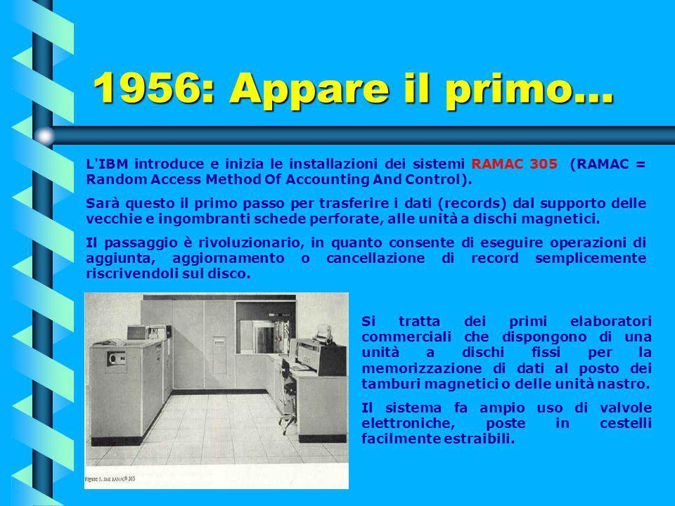 1955 IBM 702: la prima macchina commerciale completamente costruita con transistor e messa sul mercato da IBM. L'ancora alto costo dei transistor ne d