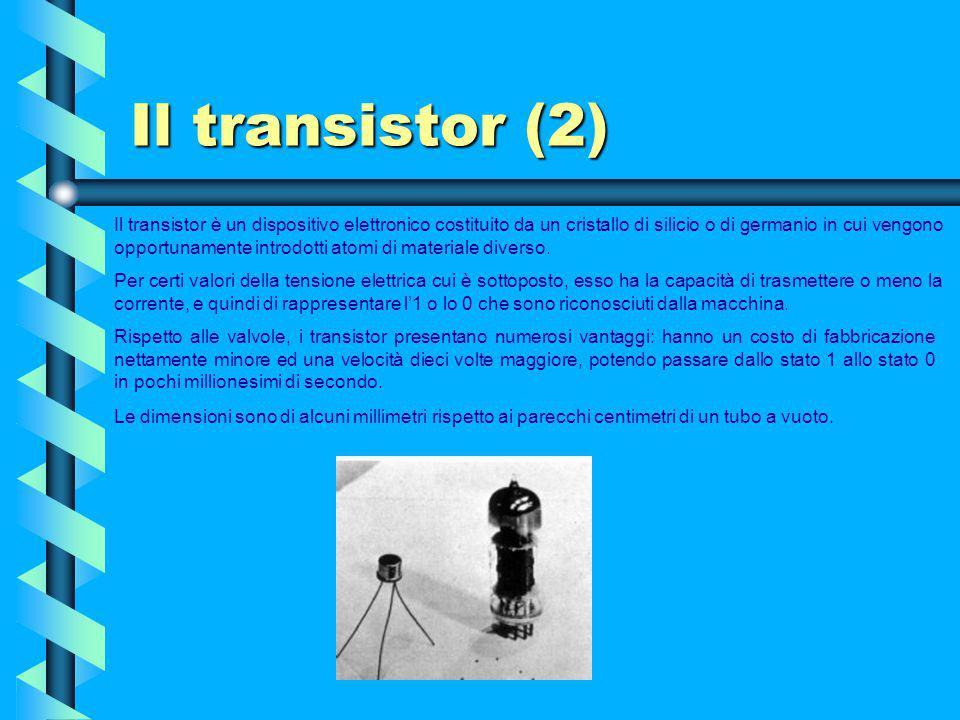 Il transistor (1) Furono tre ricercatori americani, John Bardeen, Walter Houser Brattain e William Bradford Shockley a idearlo e a perfezionarlo il 23