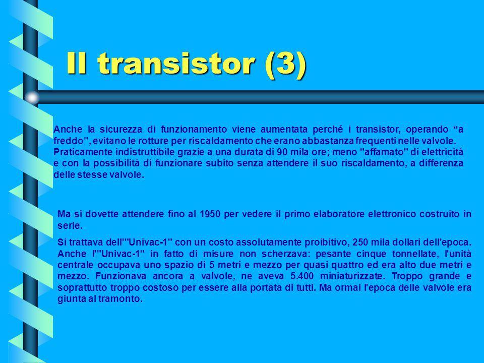 Il transistor (2) Il transistor è un dispositivo elettronico costituito da un cristallo di silicio o di germanio in cui vengono opportunamente introdo