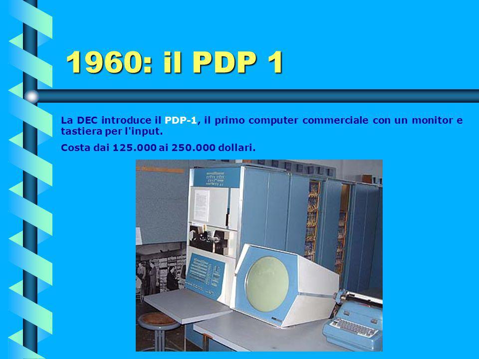 1960 Viene progettato il LARC (Livermore Advance Research Computer) dalla Remington Rand per attività scientifiche. Utilizza 60.000 transistor.