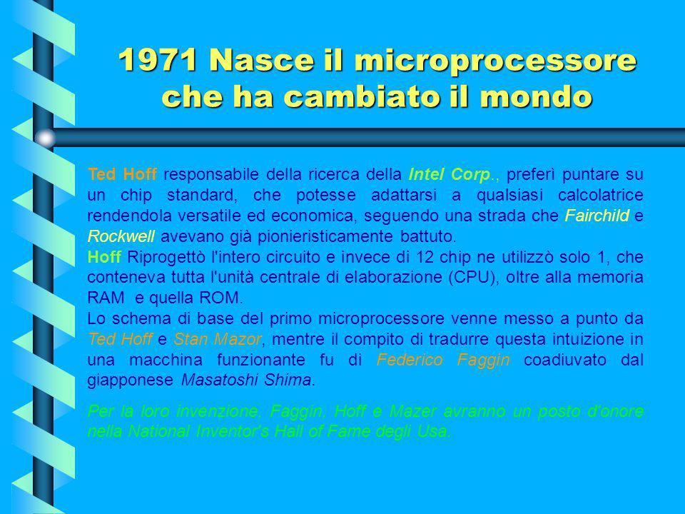 """1971 Nasce il microprocessore che ha cambiato il mondo Nel 1971 ha inizio la """"SECONDA RIVOLUZIONE INDUSTRIALE"""". Diversamente da quello a vapore della"""