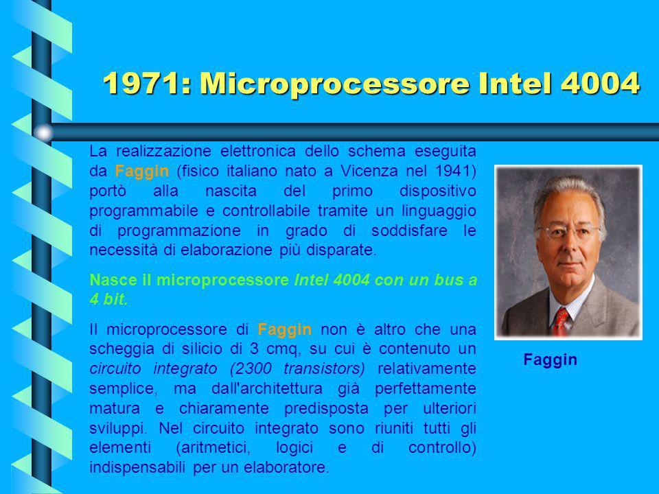 1971 Nasce il microprocessore che ha cambiato il mondo Ted Hoff responsabile della ricerca della Intel Corp., preferì puntare su un chip standard, che