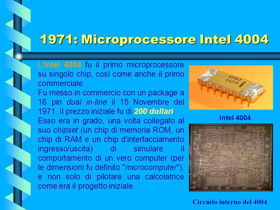 1971: Microprocessore Intel 4004 La realizzazione elettronica dello schema eseguita da Faggin (fisico italiano nato a Vicenza nel 1941) portò alla nas