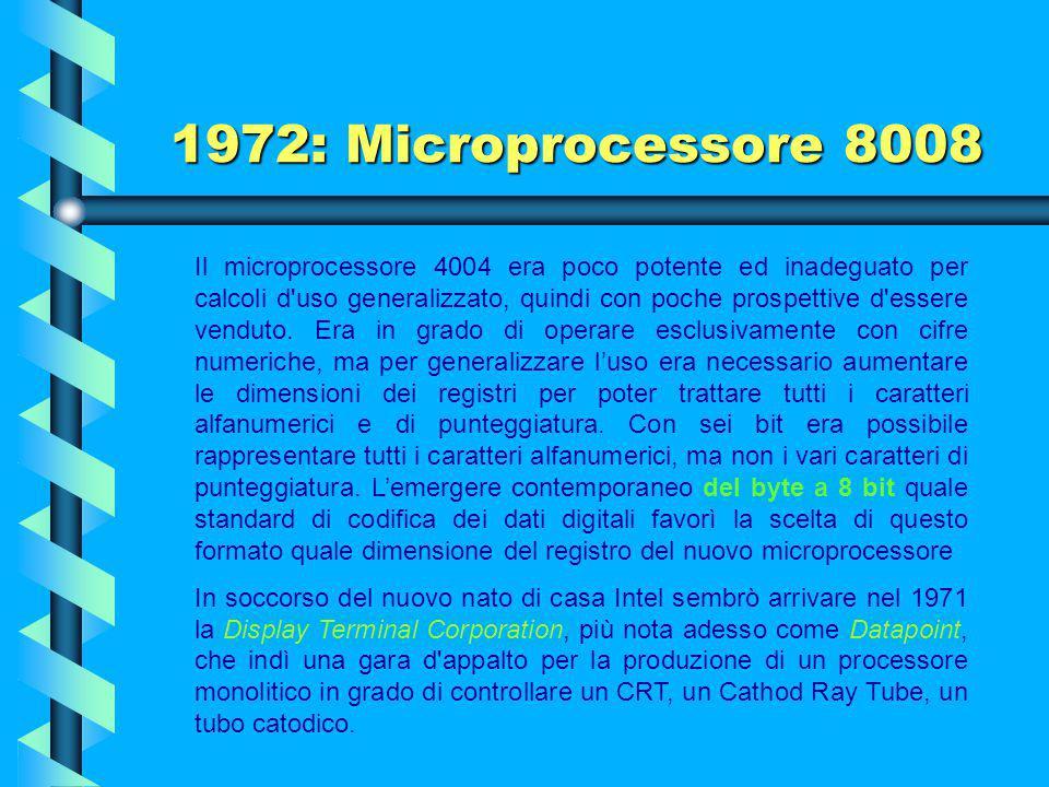 1971: Microprocessore Intel 4004 Già al momento della sua nascita, la capacità di elaborazione, 60 mila operazioni al secondo, fu superiore al gigante