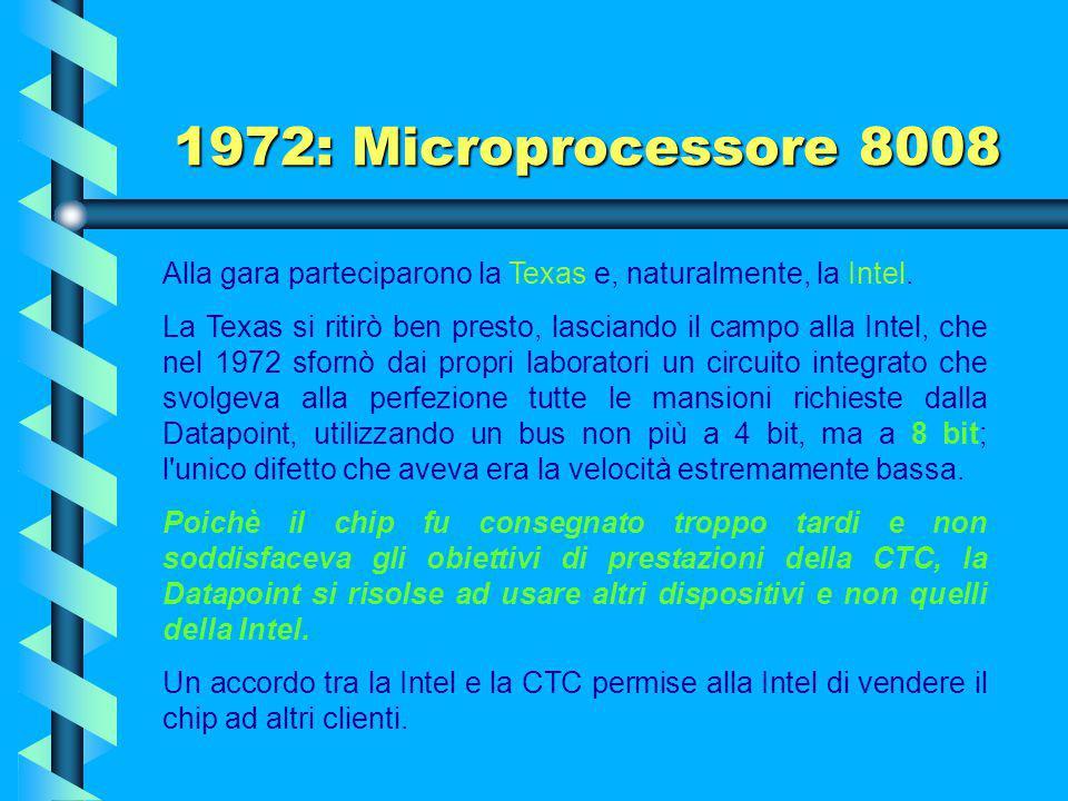1972: Microprocessore 8008 Il microprocessore 4004 era poco potente ed inadeguato per calcoli d'uso generalizzato, quindi con poche prospettive d'esse