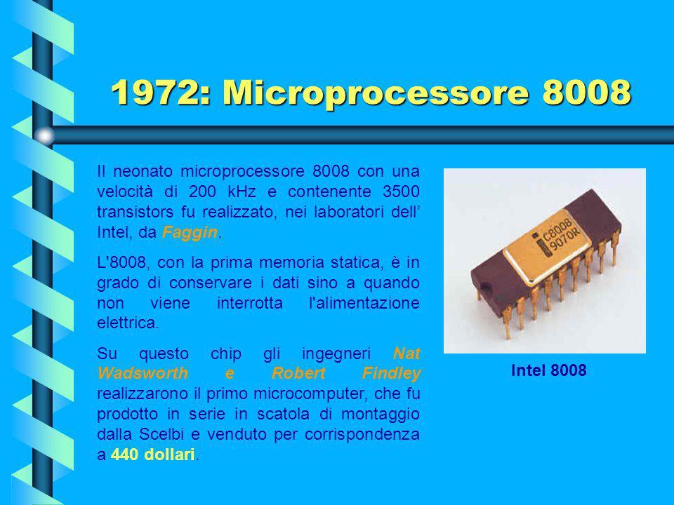 1972: Microprocessore 8008 Alla gara parteciparono la Texas e, naturalmente, la Intel. La Texas si ritirò ben presto, lasciando il campo alla Intel, c